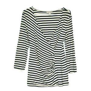 BANANA REPUBLIC  Wrap Shirt RAYON Striped Blouse